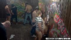 Girls get fucked in public glory hole action